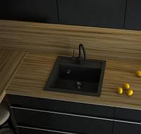 Чёрная врезная гранитная мойка для кухни AVANTI 515