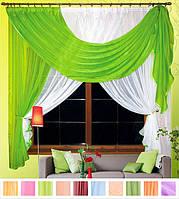 Комплект штор Милена Салатовый, кухонные(Вуаль)