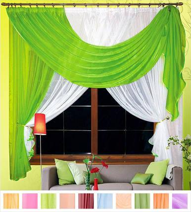 Комплект штор Милена Салатовый, кухонные(Вуаль), фото 2
