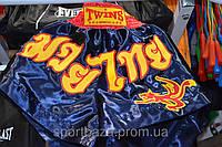 """Шорты для занятий тайским боксом """"ЭЛИТ"""" р-р S,атлас (синие)"""