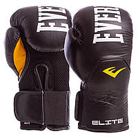 Боксерские перчатки кожаные EVERLAST ELITE Натуральная кожа На липучке Черный (СПО MA-6757) 10 унций, фото 1