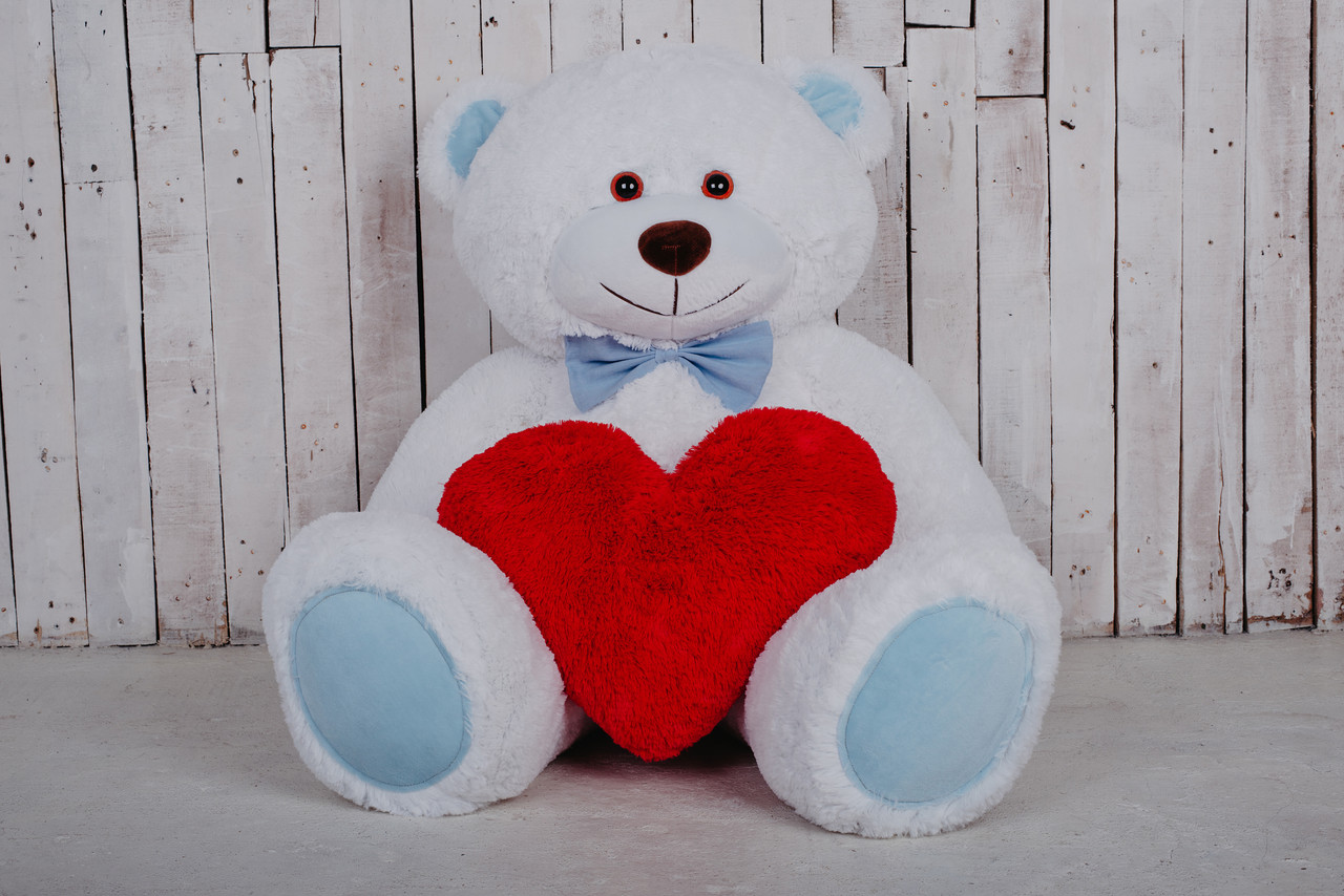 Большой мягкий мишка Билли бело-голубой + сердце 150/50 см