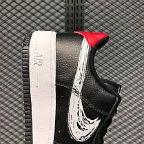 """Кроссовки Nike Air Force 1 Low Brushstroke Swoosh """"Черные/Белые"""", фото 3"""