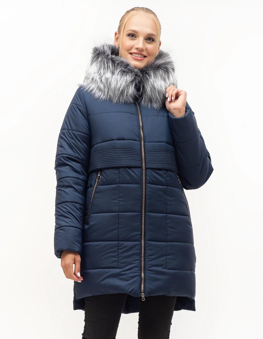 Зимові Пуховики жіночі великого розміру 46-58 синій хутро