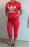 Летний спортивный костюм Adidas красный (99813) код 907А