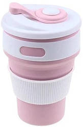 Силиконовая чашка Collapsible 5332 на 350 мл, складная, розовая