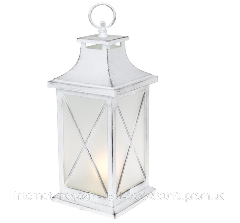 Декоративный фонарь 32см с LED подсветкой с эффектом камина, белый с патиной