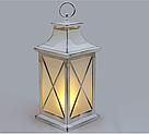 Декоративный фонарь 32см с LED подсветкой с эффектом камина, белый с патиной, фото 2
