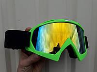 Кроссовые мото очки Ярко зелёные