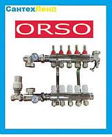Коллектор в сборе Orso на 5 контуров с 1 сливной