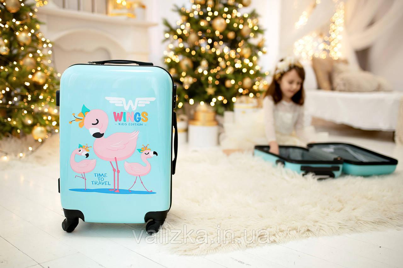 Детский пластиковый чемодан фламинго ручная кладь