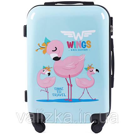 Детский пластиковый чемодан фламинго ручная кладь, фото 2