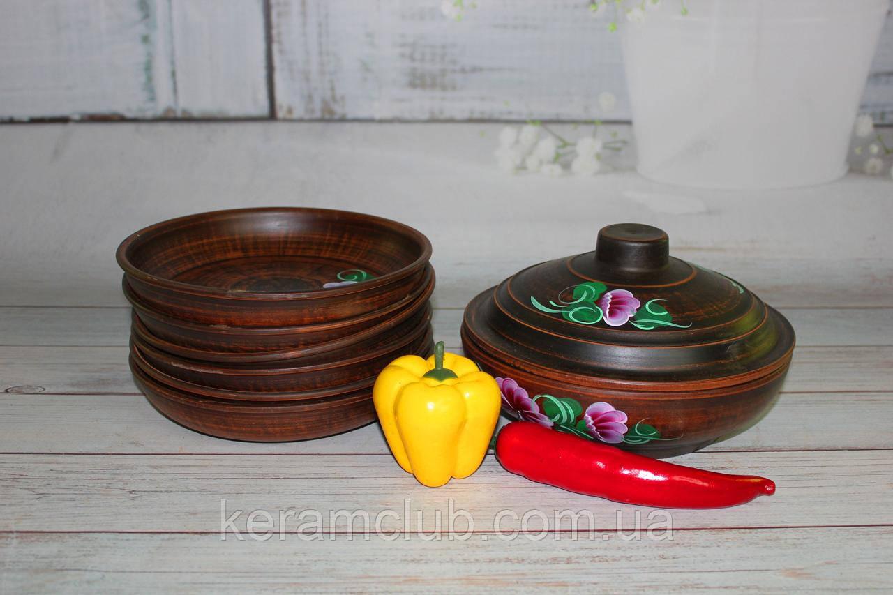 Набор рисованний из красной глины: жаровня 1,3 л и 6 тарелок для жаркого