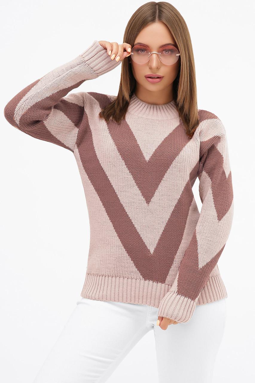 Пудровый стильный женский свитер шерстяной размер 42-46