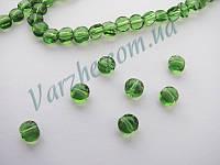 Хрустальная бусина, овал, зеленая, 4х6 мм