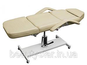 Кушетка для наращивания ресниц косметологическая гидравлическая кресло-кушетка в кремовом цвете 210-А