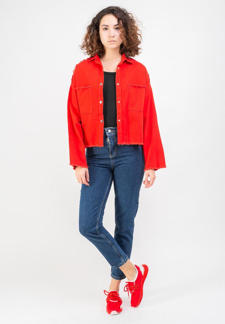 Женская джинсовая куртка MADE IN ITALY  L Красная