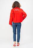 Женская джинсовая куртка MADE IN ITALY  L Красная, фото 3