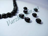 Хрустальная бусина, овал, черная, 4х6 мм