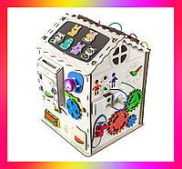 Детская развивающая игрушка Дом большой деревянный 35х35х50 с подсветкой B009Бизикуб Бизиборд Бізіборд Бізікуб