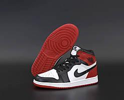 Баскетбольные кроссовки Nike Air Jordan 1 Retro Black White Red (Высокие кроссовки Найк Аир Джордан)