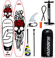 "Сапборд Gladiator ART 12'6"" x 32"" MY LOVE - надувная доска для САП серфинга, sup board"