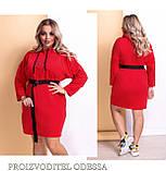 Прогулочное платье с капюшоном и поясом демисезонное. Размер: 42-44, 44-46, 48-50, 52-54, 56-58., фото 2