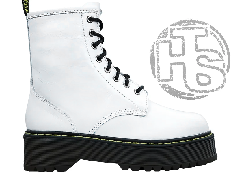 Женские ботинки Dr.Martens Jadon Platform Boots White Polished Smooth 15265100