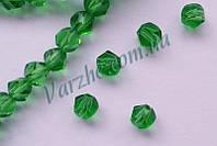 """Хрустальная бусина, """"кристал"""", зеленая, 6 мм"""