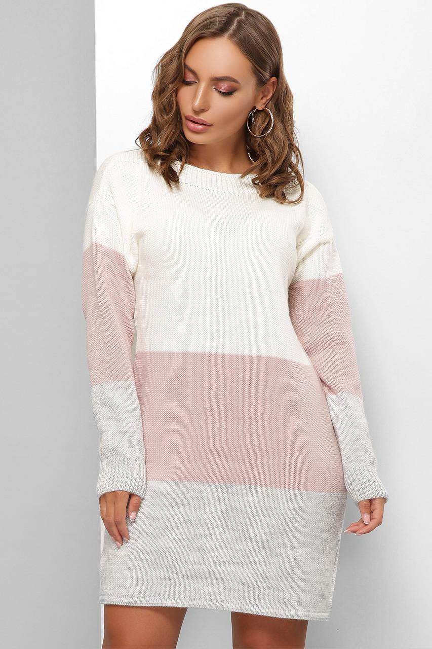 Удобное теплое платье длинный свитер оверсайз вязаное размер 44-50