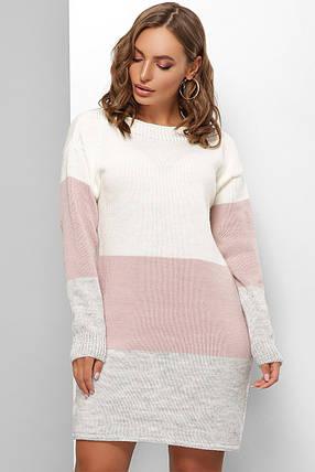 Удобное теплое платье длинный свитер оверсайз вязаное размер 44-50, фото 2