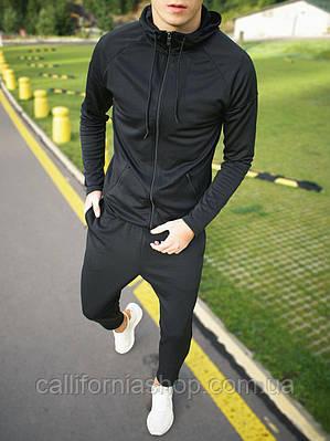 Мужской черный спортивный костюм дайвинг с капюшоном демисезонный