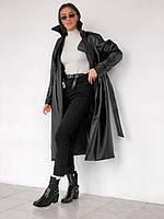 Женский тренч кожаный черный