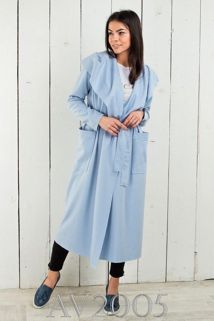 Жіночне вовняне пальто на запах 42-46 (в кольорах)