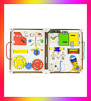 Детская игрушка Доска развивающая складная 68х42х11 с подсветкой Бизикуб Бизиборд Бізіборд Бізікуб