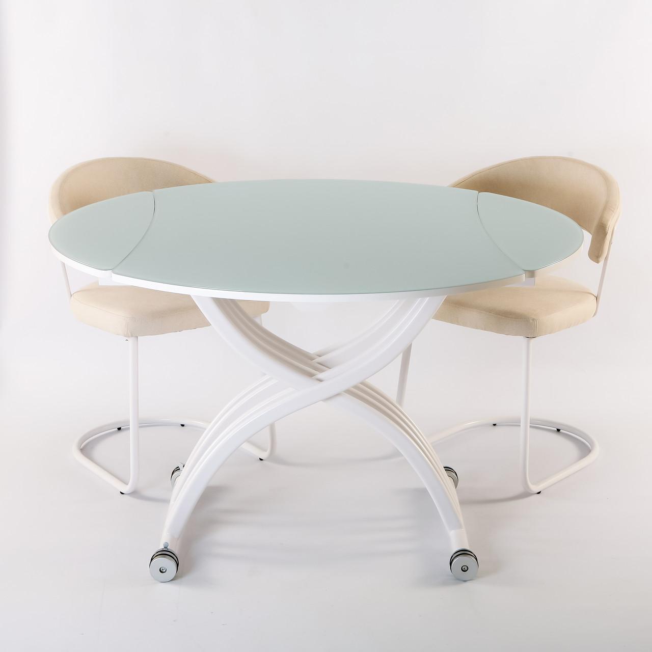 Круглый обеденный стол трансформер Бергамо (B2420)  Exm, цвет белый