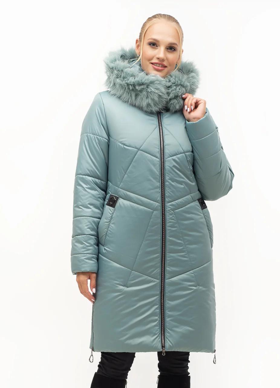 Зимові Пуховики жіночі великого розміру 46-58 м'ята песець