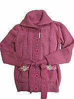 Вязаный кардиган лилового цвета для девочек 7-10 лет, рост 122-140 см
