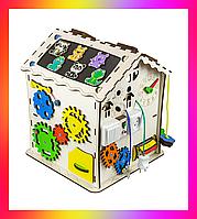 Детская развивающая игрушка Дом большой деревянный 30х30х40 с подсветкой B008Бизикуб Бизиборд Бізіборд Бізікуб