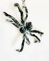 Паук 42см меховой с белой шерстью, паук гигант, декорации на Хэллоуин, набор 6 шт