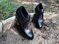 Мужские кожаные туфли броги классические черные