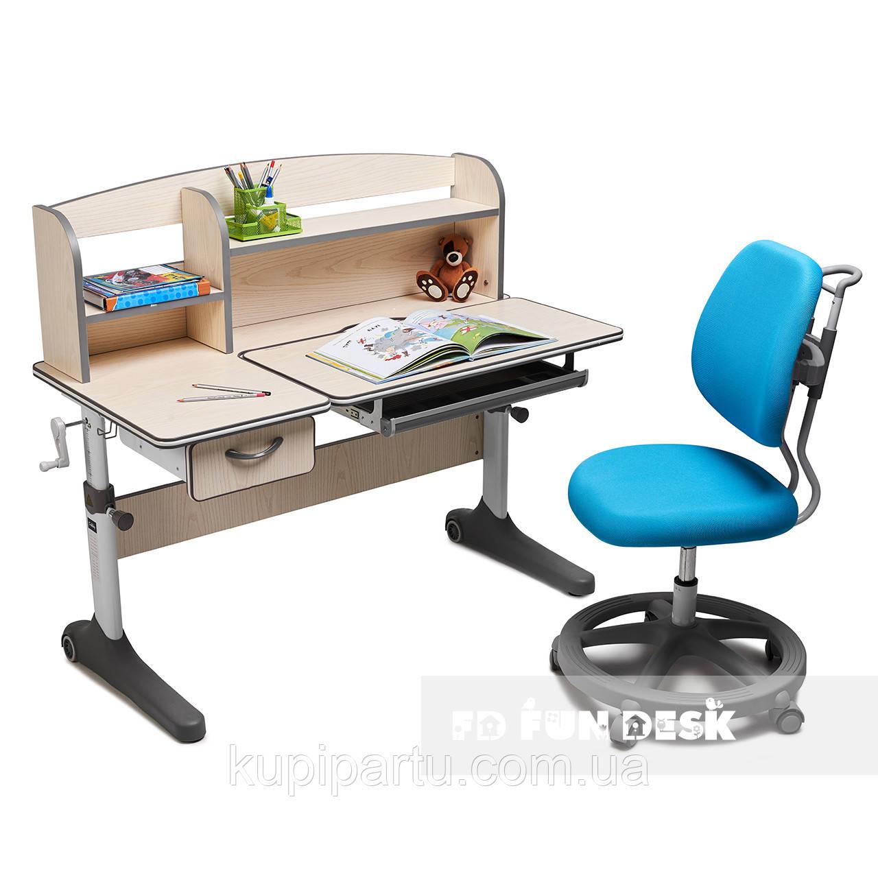 Комплект зростаюча парта для школярів Cubby Ammi Grey + ергономічне крісло FunDesk Pratico Mint