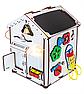 Дитяча розвиваюча іграшка Будинок великий дерев'яний 28х28х35 з підсвічуванням В006Бизикуб Бизиборд Бізіборд Бізікуб, фото 4