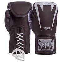 Перчатки боксерские для тренировок и спаррингов на шнуровке VENUM Полиуретан Черные (СПО BO-8350) 8 унций