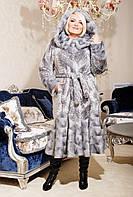 Женская шубка из экомеха серо-голубой леопард размеры 44-58