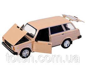 Машина металева ВАЗ 2104 АВТОПРОМ. Інерція, світло, звук, відкривши двері, автомодель 1:24 Бежева