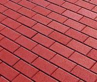 Тротуарная плитка Кирпичик 60, прессованный ярко-красная, Белая основа