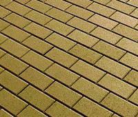 Тротуарная плитка Кирпичик 60, прессованный оливка, Серая основа