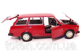 Машина металева ВАЗ 2104 АВТОПРОМ. Інерція, світло, звук, відкривши двері, автомодель 1:24 Червона