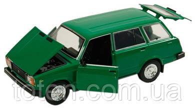 Машина металева ВАЗ 2104 АВТОПРОМ. Світло, звук, відкривши двері, автомодель 1:24. Зелена